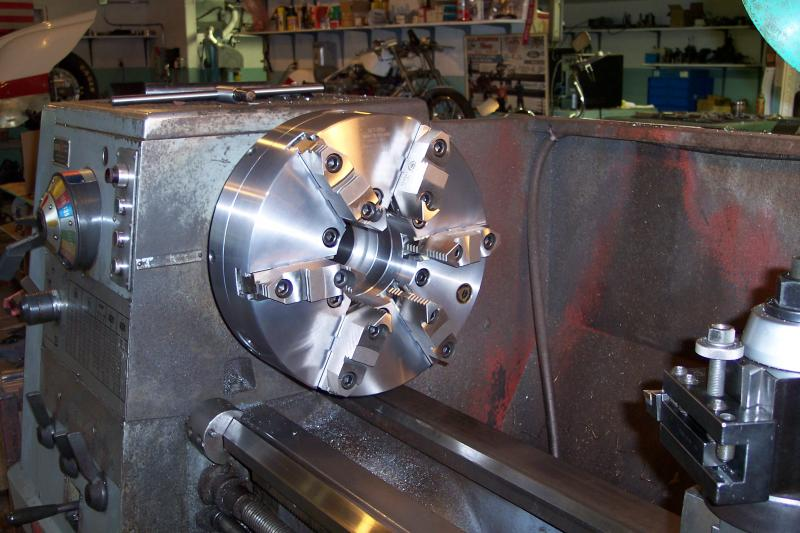 "Cluasing Colchester 21"" Lathe with new six-jaw chuck"